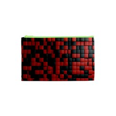 Black Red Tiles Checkerboard Cosmetic Bag (xs) by BangZart