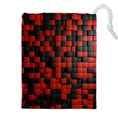 Black Red Tiles Checkerboard Drawstring Pouches (xxl) by BangZart