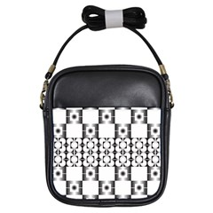 Pattern Background Texture Black Girls Sling Bags by BangZart