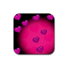 Background Heart Valentine S Day Rubber Coaster (square)  by BangZart