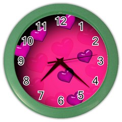 Background Heart Valentine S Day Color Wall Clocks by BangZart