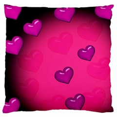 Background Heart Valentine S Day Large Cushion Case (two Sides) by BangZart