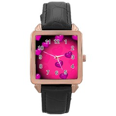 Background Heart Valentine S Day Rose Gold Leather Watch  by BangZart