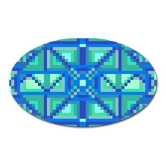 Grid Geometric Pattern Colorful Oval Magnet by BangZart