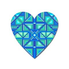 Grid Geometric Pattern Colorful Heart Magnet by BangZart