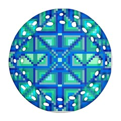 Grid Geometric Pattern Colorful Ornament (round Filigree) by BangZart