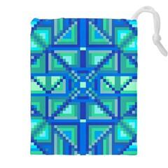 Grid Geometric Pattern Colorful Drawstring Pouches (xxl) by BangZart