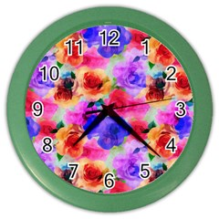 Floral Pattern Background Seamless Color Wall Clocks by BangZart