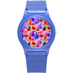 Floral Pattern Background Seamless Round Plastic Sport Watch (s) by BangZart