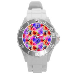 Floral Pattern Background Seamless Round Plastic Sport Watch (l) by BangZart