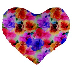 Floral Pattern Background Seamless Large 19  Premium Heart Shape Cushions by BangZart