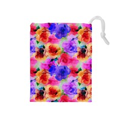 Floral Pattern Background Seamless Drawstring Pouches (medium)  by BangZart