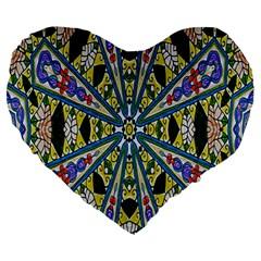 Kaleidoscope Background Large 19  Premium Heart Shape Cushions