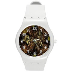 Wallpaper With Fractal Small Flowers Round Plastic Sport Watch (m) by BangZart