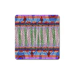 Nature Pattern Background Wallpaper Of Leaves And Flowers Abstract Style Square Magnet by BangZart