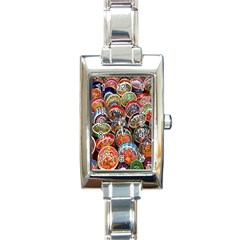 Colorful Oriental Bowls On Local Market In Turkey Rectangle Italian Charm Watch by BangZart