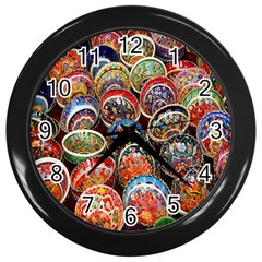 Colorful Oriental Bowls On Local Market In Turkey Wall Clocks (Black)