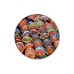 Colorful Oriental Bowls On Local Market In Turkey Magnet 3  (round) by BangZart