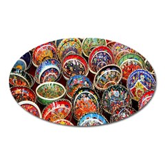 Colorful Oriental Bowls On Local Market In Turkey Oval Magnet by BangZart
