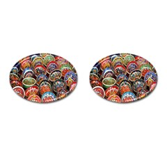 Colorful Oriental Bowls On Local Market In Turkey Cufflinks (oval) by BangZart