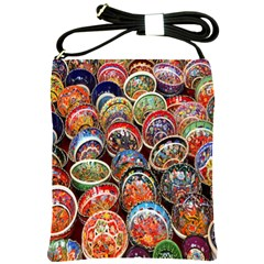 Colorful Oriental Bowls On Local Market In Turkey Shoulder Sling Bags by BangZart