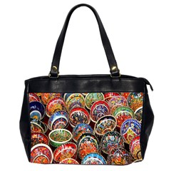 Colorful Oriental Bowls On Local Market In Turkey Office Handbags (2 Sides)  by BangZart
