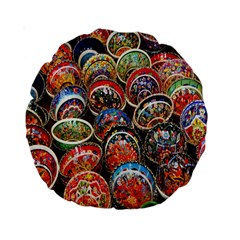 Colorful Oriental Bowls On Local Market In Turkey Standard 15  Premium Round Cushions by BangZart
