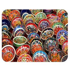 Colorful Oriental Bowls On Local Market In Turkey Double Sided Flano Blanket (medium)  by BangZart