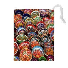 Colorful Oriental Bowls On Local Market In Turkey Drawstring Pouches (extra Large) by BangZart