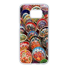 Colorful Oriental Bowls On Local Market In Turkey Samsung Galaxy S7 Edge White Seamless Case by BangZart