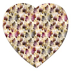 Random Leaves Pattern Background Jigsaw Puzzle (heart) by BangZart