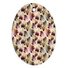 Random Leaves Pattern Background Oval Ornament (two Sides) by BangZart