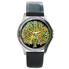 Unusual Peacock Drawn With Flame Lines Round Metal Watch