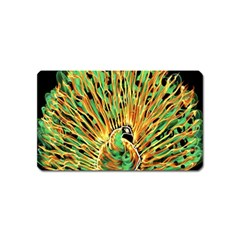 Unusual Peacock Drawn With Flame Lines Magnet (name Card) by BangZart