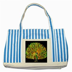 Unusual Peacock Drawn With Flame Lines Striped Blue Tote Bag by BangZart