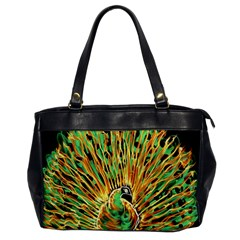 Unusual Peacock Drawn With Flame Lines Office Handbags by BangZart