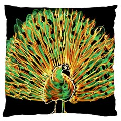 Unusual Peacock Drawn With Flame Lines Large Cushion Case (two Sides) by BangZart