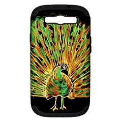 Unusual Peacock Drawn With Flame Lines Samsung Galaxy S Iii Hardshell Case (pc+silicone) by BangZart