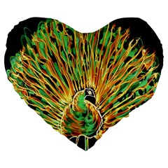 Unusual Peacock Drawn With Flame Lines Large 19  Premium Heart Shape Cushions by BangZart