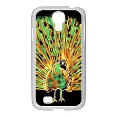 Unusual Peacock Drawn With Flame Lines Samsung Galaxy S4 I9500/ I9505 Case (white) by BangZart