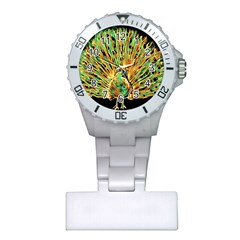 Unusual Peacock Drawn With Flame Lines Plastic Nurses Watch by BangZart