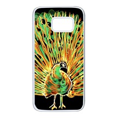 Unusual Peacock Drawn With Flame Lines Samsung Galaxy S7 White Seamless Case by BangZart