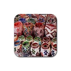Colorful Oriental Candle Holders For Sale On Local Market Rubber Coaster (square)  by BangZart