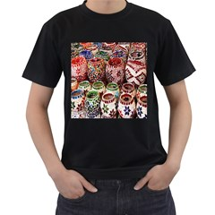 Colorful Oriental Candle Holders For Sale On Local Market Men s T Shirt (black) (two Sided) by BangZart