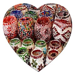 Colorful Oriental Candle Holders For Sale On Local Market Jigsaw Puzzle (heart) by BangZart