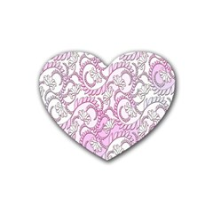 Floral Pattern Background Rubber Coaster (heart)  by BangZart
