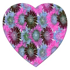 Floral Pattern Background Jigsaw Puzzle (heart) by BangZart