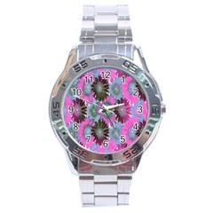 Floral Pattern Background Stainless Steel Analogue Watch by BangZart