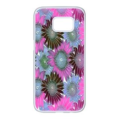 Floral Pattern Background Samsung Galaxy S7 Edge White Seamless Case by BangZart