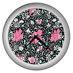 Oriental Style Floral Pattern Background Wallpaper Wall Clocks (silver)  by BangZart